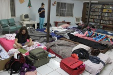Our slumberparty room in Augua Prieta. The ladies dragged all our mattresses together into the library to avoid the dust in our room.