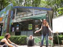 Melanie giving a a presentation about the Casita.