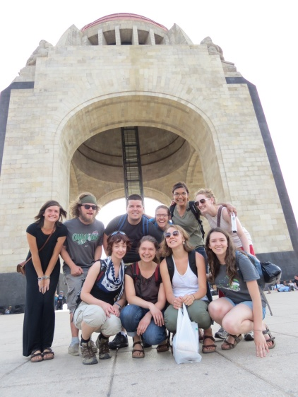 Group photo in front of the revolution monument.