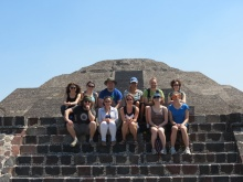 Group photo in front of the Pyramid of the Moon.