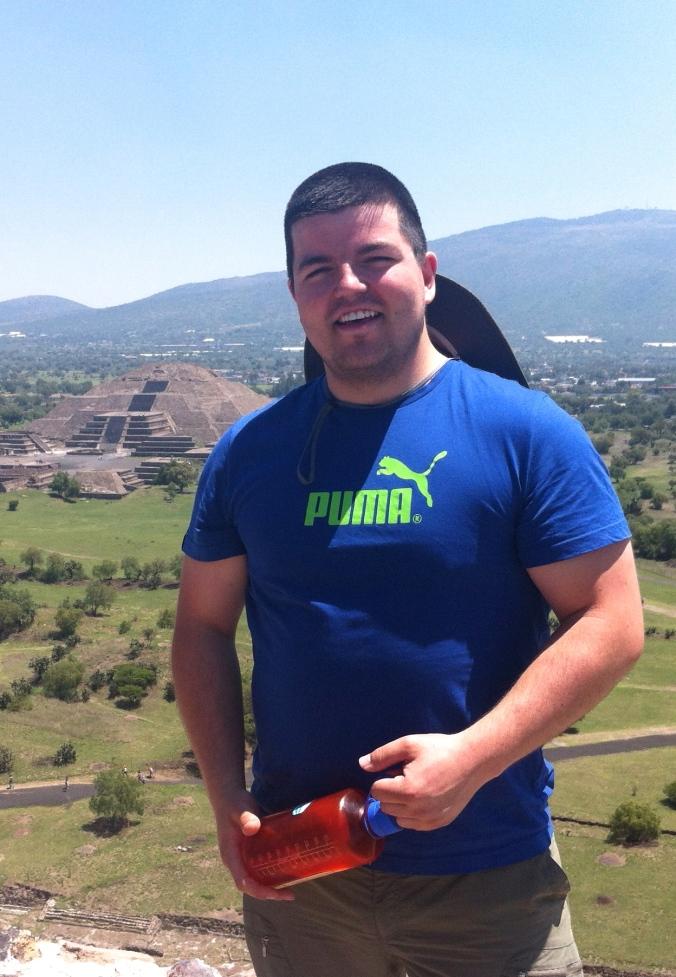 Thomas at the Teotihuacan Pyramids, Mexico.