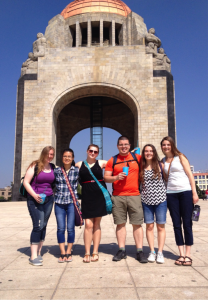 Enjoying some of the sites in Mexico City. This is the Monumento a la Revolucion. 2015 Uprooted Team (left to right): Tonja Friesen Ehpaw Eh, Katrina Doran, Thomas Caldwell, Josie Willms, Erin Willems